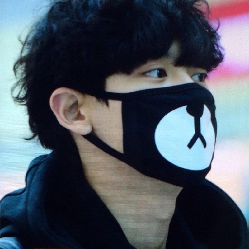 2015 nova chegada moda Kpop EXO Chanyeol mesmo estilo Chan yeol sorte urso boca máscara JS0177(China (Mainland))