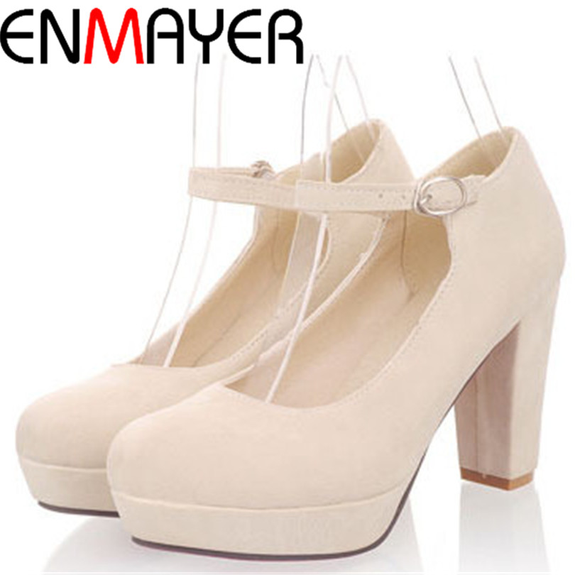 ENMAYER  Yellow Black Pink Blue beautiful pumps Gladiator Square heel shoes for ladies Plain simple sweet Party girls pumps<br><br>Aliexpress