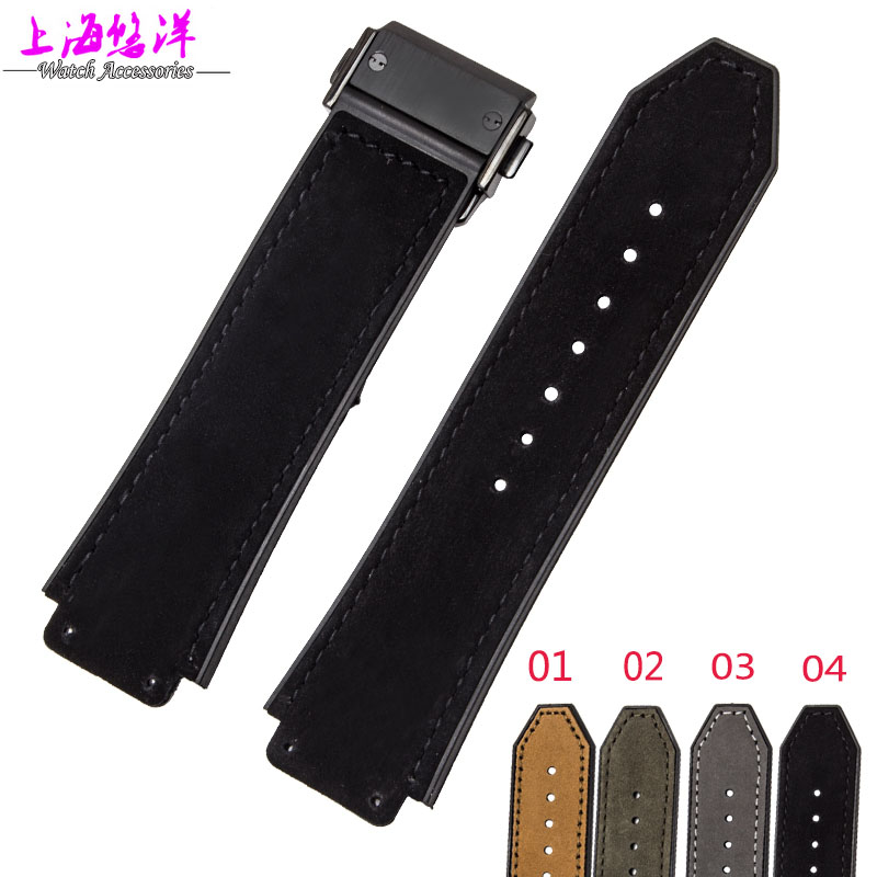25*19mm Waterproof Green 4 colours genuine leather and Rubber Watch Strap Band Strap for Brand Mens watch band<br><br>Aliexpress