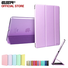 Case for iPad mini 1 2 3, ESR Tri-fold smart cover Color Ultra Slim PU Leather Transparent Back Case for iPad mini 1 2 3(China (Mainland))