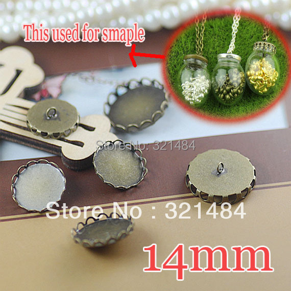 Rhodium plated 300pcs Lace Caps Covers For glass bottle vials pendant DIY 14mm Blank Base Setting WHOLESALE