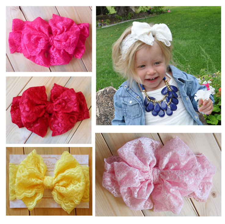 Baby headbands Lace Bow flower Headwrap Stretch big Bow Headbands for girls lovely kids Vintage Head Wrap Children's Accessories(China (Mainland))