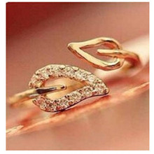 nj3 2014 new (gold) two anti-drilling leaves retro Korean female couple rings jewelry influx of people free shipping(China (Mainland))