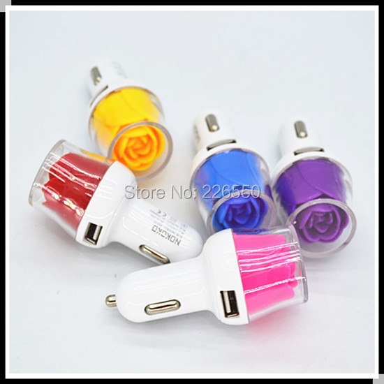 sample 5pcs New luminous rose car charger Dual USB 3.1A for apple iphone 6plus 5S 4s ipad for ipod iTouch sumsung htc sony(China (Mainland))