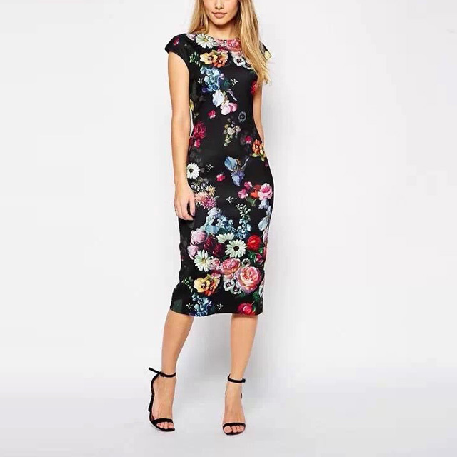 New Fashion Summer Women Dresses Elegant Floral Printed Dress Lady Temperament Charm Slim Dress Casual Sleeveless Dress AA8062(China (Mainland))