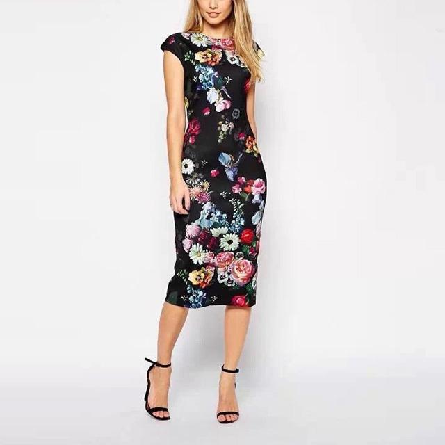 New Fashion Summer Women Dresses Elegant Floral Printed Dress Lady Temperament Charm Slim Dress Casual Sleeveless Dress AA8062(China (Mainland))