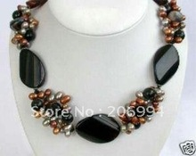 wholesales design Beautiful black agate pearl necklace lowest fashion jewelry,gift free shipping(China (Mainland))