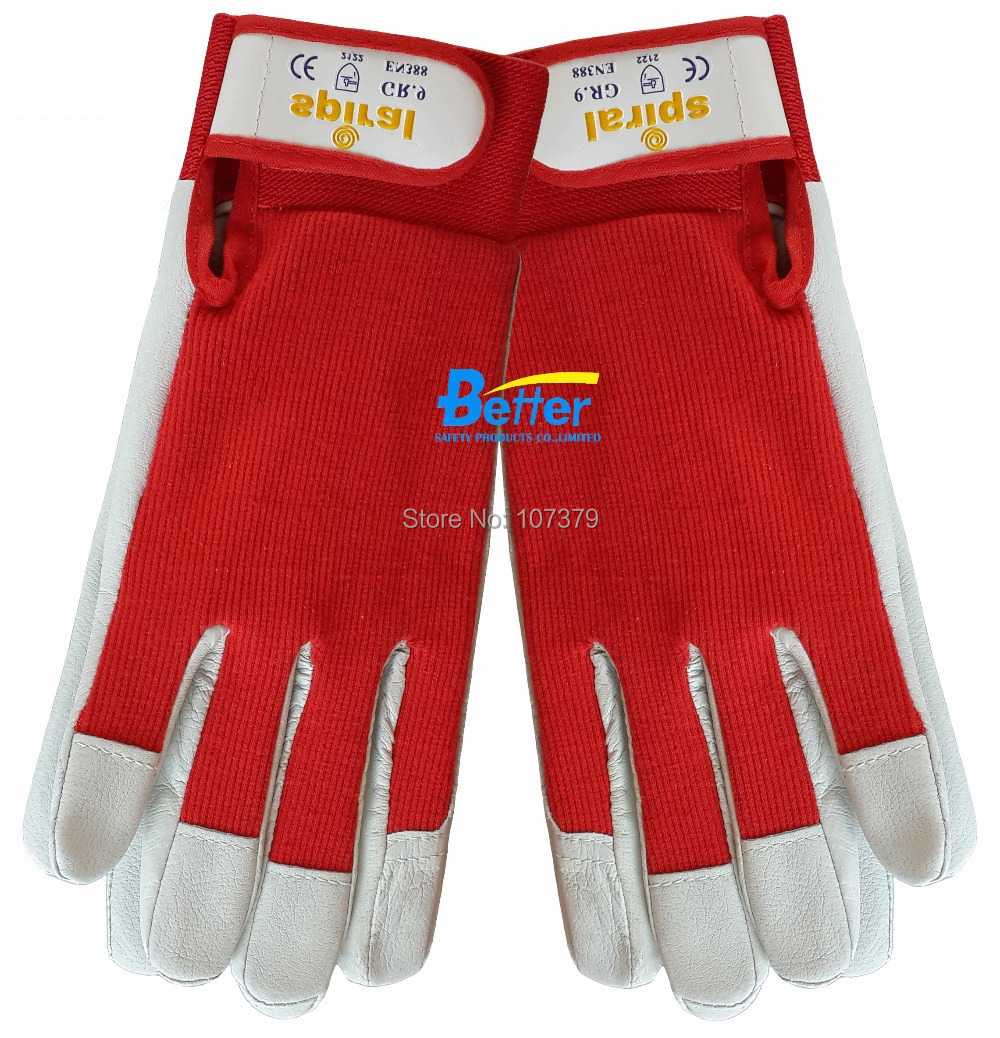 Goat leather work gloves - Leather Safety Glove Pig Grain Leather Work Glove