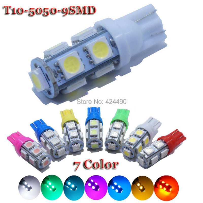10PCS T10 9SMD 5050 9LED Car 194 168 192 W5W 12V Light Automobile Bulbs LED Lamp Wedge Interior Light 9 SMD Lights Wholesale(China (Mainland))