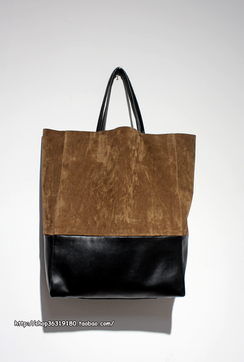 Exclusive hand-made/suede pile splicing shopping bag tote shopping bag(China (Mainland))