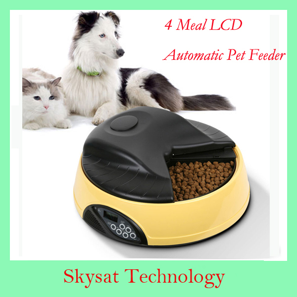 2014 Hot Sale Digital 4 Meal LCD Portion Control Dog Feeding Product Voice Auto Record 4 Food Bowl Tray Meal PF Pet Feeder(China (Mainland))