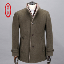 DING TONG Mens 100% Pure Wool Coat Autumn Winter Goose Down Slim Fit Overcoat with Sheep Fur Collar Man Woolen Down Padded Coats(China (Mainland))