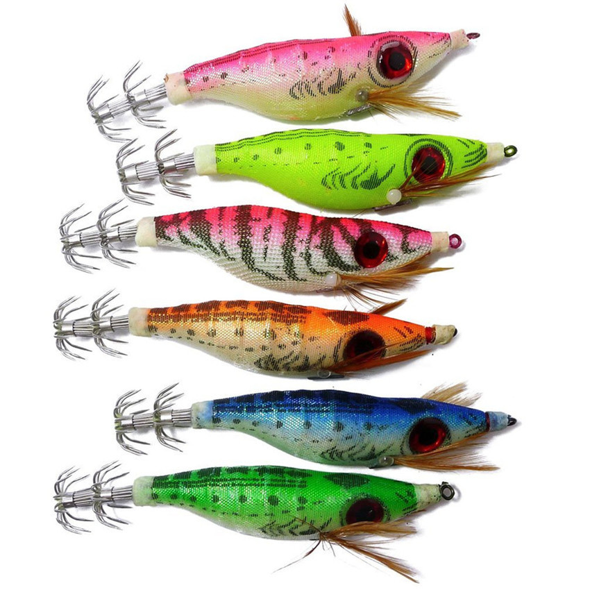 6pcs squid jigs cuttlefish fishing lure artificial bait in for Squid fishing lures