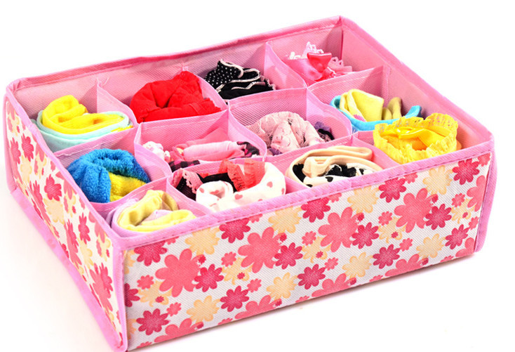 Гаджет  12 Grid Storage Box Bag Non-Woven Fabric Folding Case For Bra Underwear Socks For 31*23*11CM None Дом и Сад