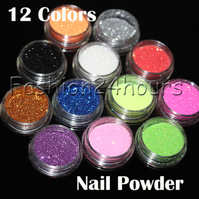 12 Different Colors Nail Art  Glitter Powder  Dust Decoration With Box Free Shipping