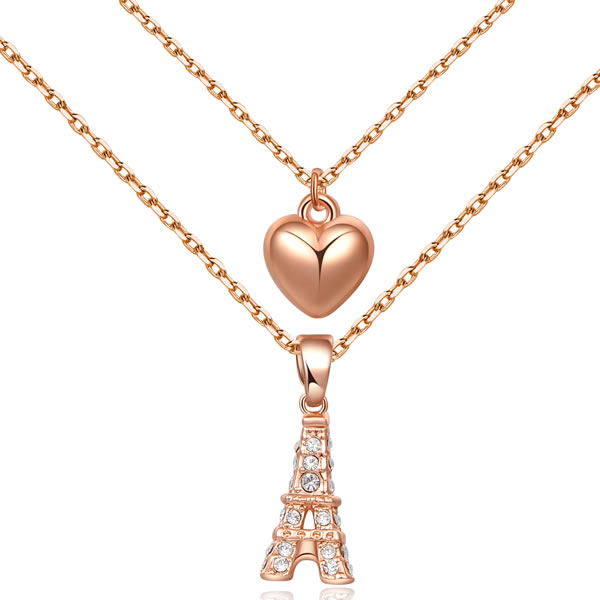2015 Fashion Women Girl Casual Necklace Long Link Chain Eiffel Tower Heart Pendant Austria Crystal Jewelry collares - Atolla Global Flagship Store store