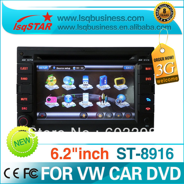 2 din 6.2 inch VW PASSAT B5 car dvd player with dvd/cd/mp3/mp4/bluetooth/ipod/radio/tv/gps/3g!canbus!