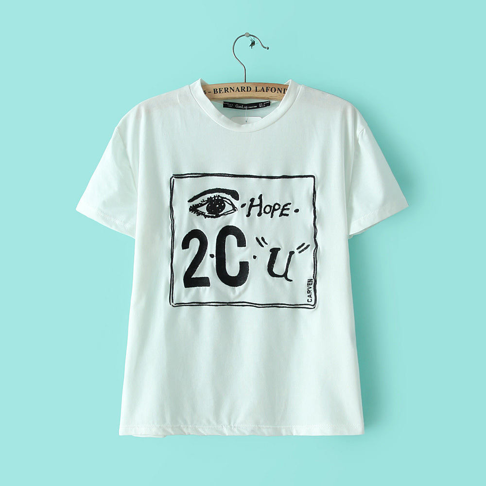 2015 summer new letter eye square print embroidered novelty tops women's short sleeves t shirts - Chic Classic Store store