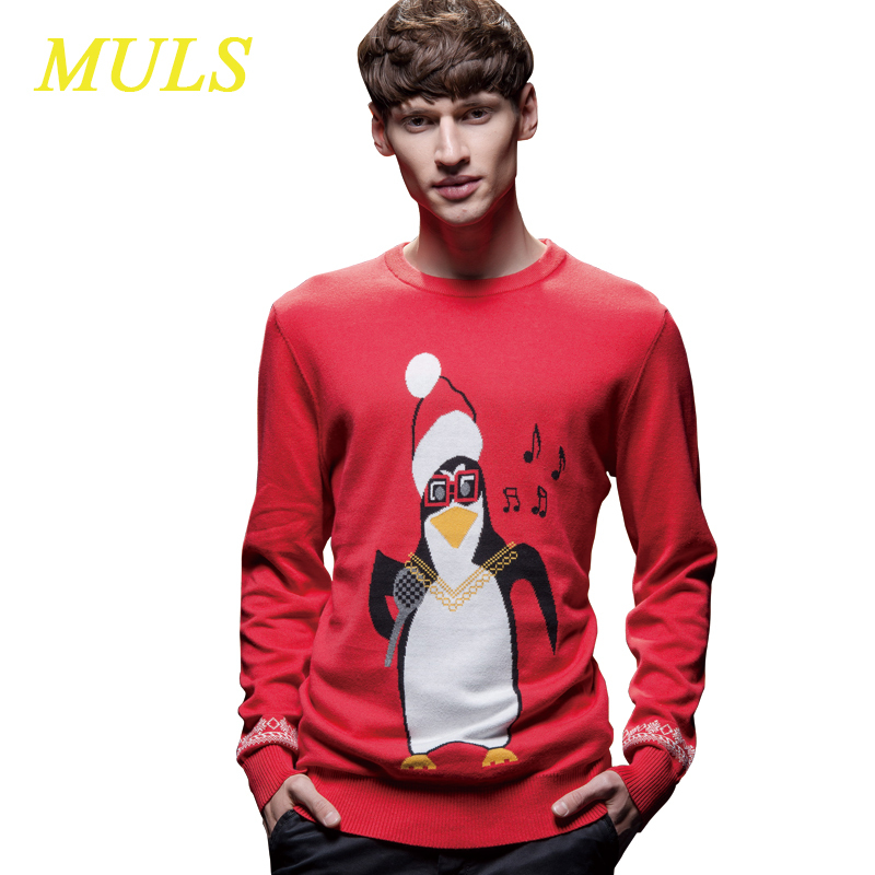 Unisex ugly christmas sweater 2015 holiday dress MULS small horse brand 6xl cotton knitted pullover polo penguin pattern 1501008(China (Mainland))