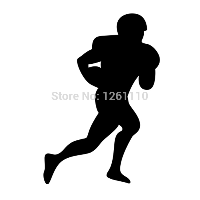 American Football Soccer Player Silhouette Rugby Sport Man Ball Art Vinyl Sticker Decals for car SUV Bumper Window(China (Mainland))