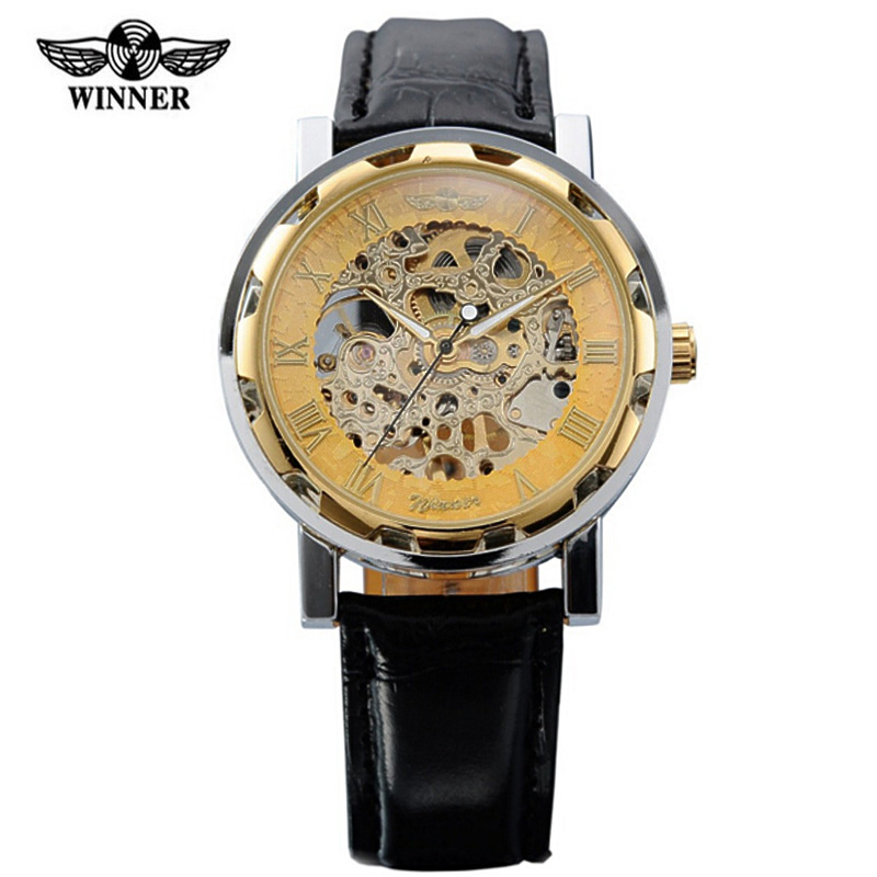 Heren Horloge Winner Watch Men Leather Strap Mechanical Skeleton Watches Luxury Gold Mens Erkek Kol Saati - Evan Store store