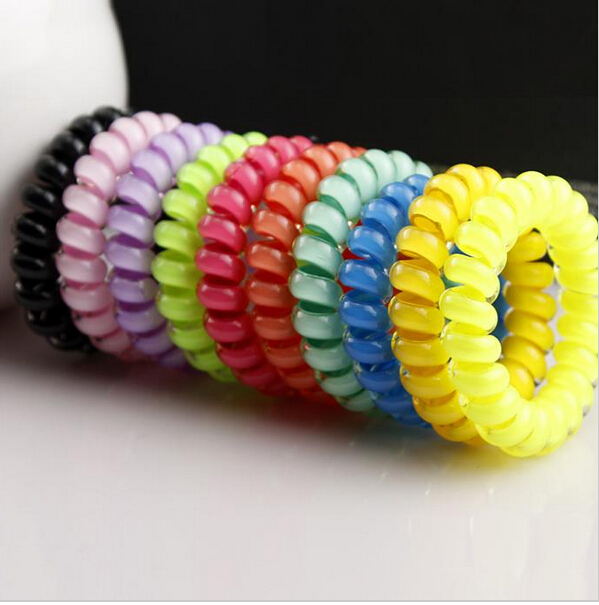 2015 high quality hair accessories women hair ring hair rope candy-colored telephone wire headband scrunchy gum for bracelets(China (Mainland))