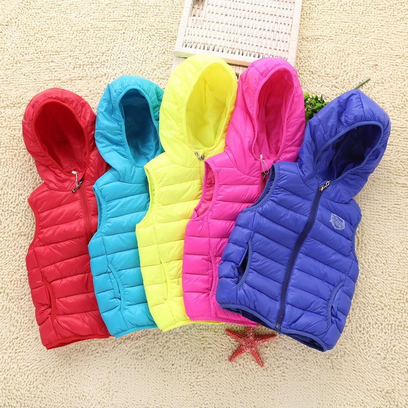 ! 7 colors New European Brand winter children waistcoat velvet hooded sleeveless boys girls thicken baby Vest - down coat Factory direct store