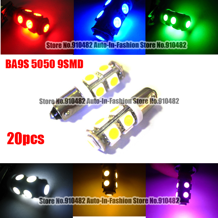 free shipping hot selling 20pcs BA9S 9-SMD LED Dome Reading Light Bulbs Lamp 5050 BA9s H6W White Red Blue Yellow Green Pink(China (Mainland))