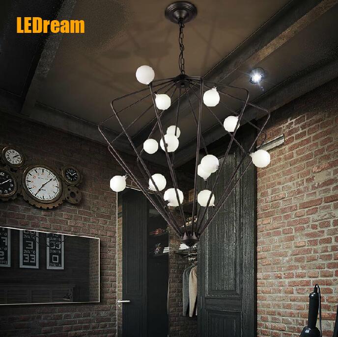 LEDream LOFT retro industrial diamond, wrought iron birdcage chandelier creative arts restaurant bar counter study droplight(China (Mainland))