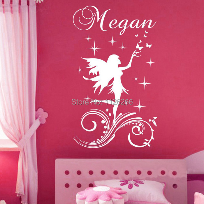 Customer made Fairy Little Angel Cartoon Wall Sticker Personalised Any Name Girls Wall decal for Kids Room Decor(China (Mainland))