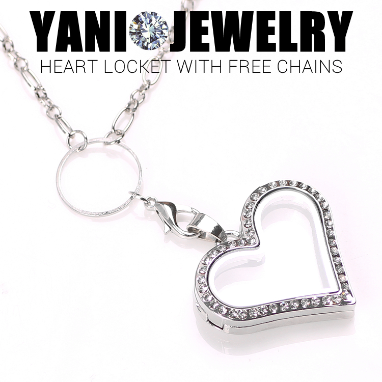 Free Shipping Heart Locket Necklace Jewelry Magnetic Floating Heart Locket Pendant Glass Living Crystal Locket With Chains(China (Mainland))