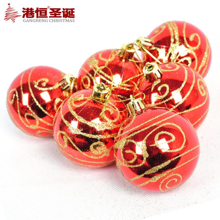 tree decoration 6 cm bronzing light red coloured drawing or pattern Christmas ball (6), 64 g styrofoam balls ornament crafts(China (Mainland))