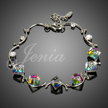 Jenia Simple and Elegant White Gold Plated Stellux Colored Austrian Crystal Cube Charm Bracelet Wholesale XH054(China (Mainland))
