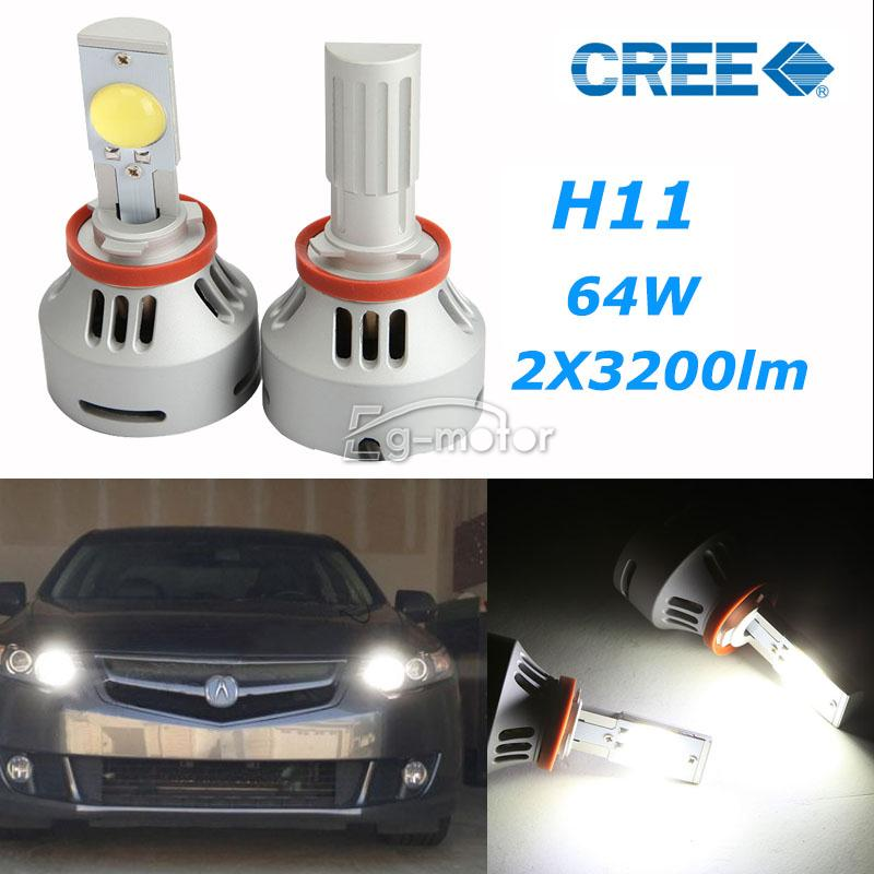 free shiping 3200LM 32W H11 CREE LED Projector Headlight Bulb Fog lamp Bulbs Kit+ Drivers(China (Mainland))