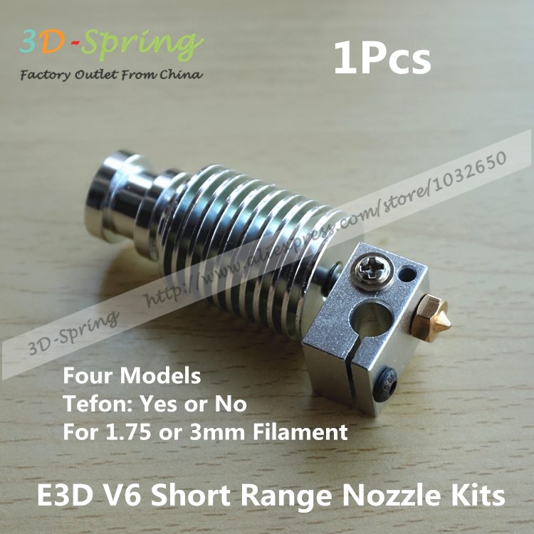 1 unids E3D V6 de corto alcance boquilla Kits 1.75 mm 3 mm corta distancia con calefacción Teflon extrusora de cabezal de impresión cabeza bloque de calentamiento de la boquilla(China (Mainland))