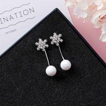 Elegante elegante cristal floco de neve brincos para as mulheres moda longa borla brincos imitação pérolas pingente gota da orelha jóias xe19(China)