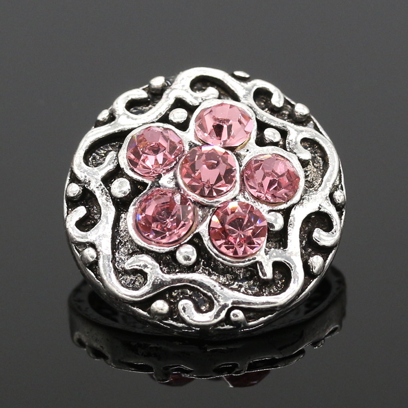 Metal Snap Button Charm carved Styles Button Snaps Jewelry snap Pink Glass 5pcs/lot Love 2016 NZ068(China (Mainland))