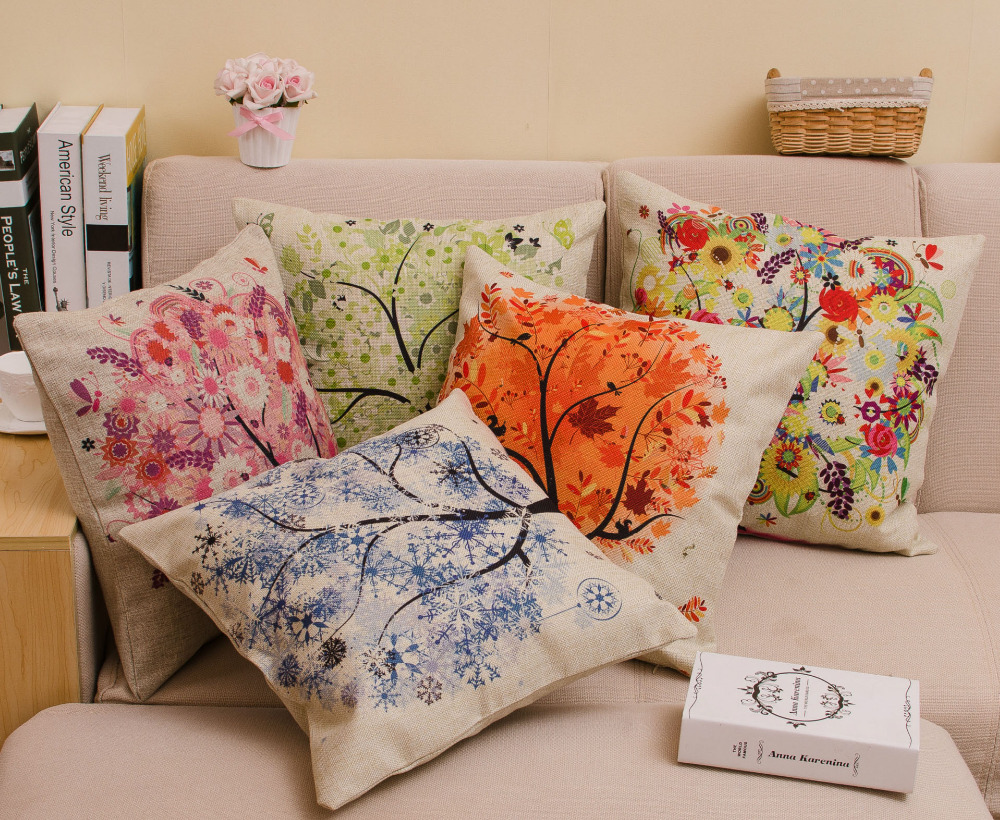 b001 decorative cushions home decor burlap trees sofa throw pillows cushion pillowcase almofadas decorativas cojines coussin