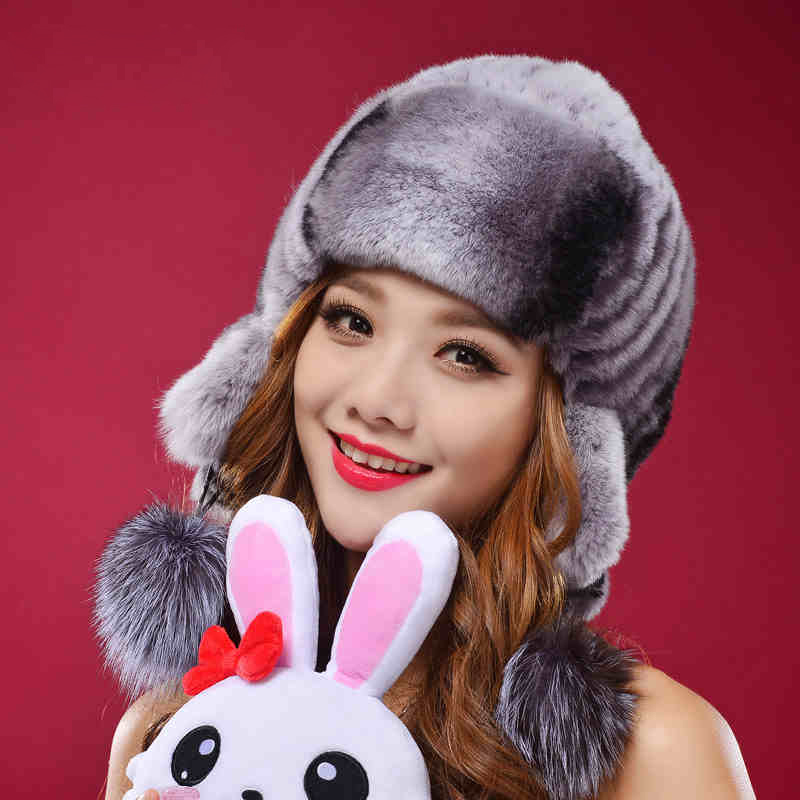 Top Quality Rex Rabbit Fur Beanies For Women Knittted Real Fur Winter Hat Cap Skullies Elastic Lady Headwear DL6168(China (Mainland))
