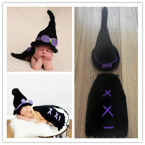Wizard hat Crochet Beanie Knitted Cap Hat Newborn Baby Toddlers Girl Warm Handmade baby set hat + pant for Halloween gifts(China (Mainland))