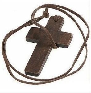 Free Shipping $10 (mix order) Wooden Cross Leather String Necklace Chain Popular Jewelry In Korea (Brown) N80 7g(China (Mainland))