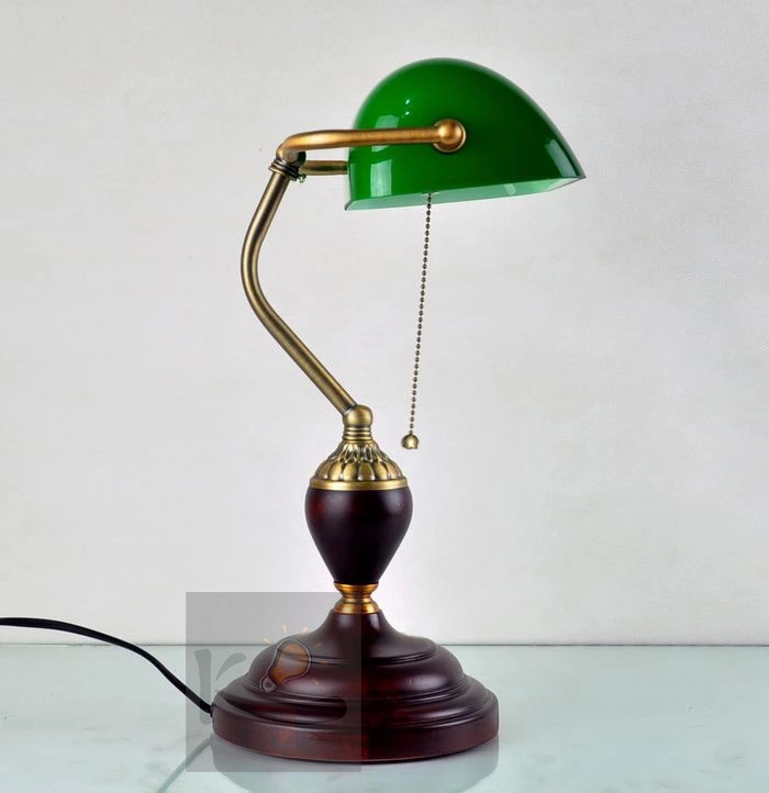 Green bankers lamp glass shade antique design desk office table bank