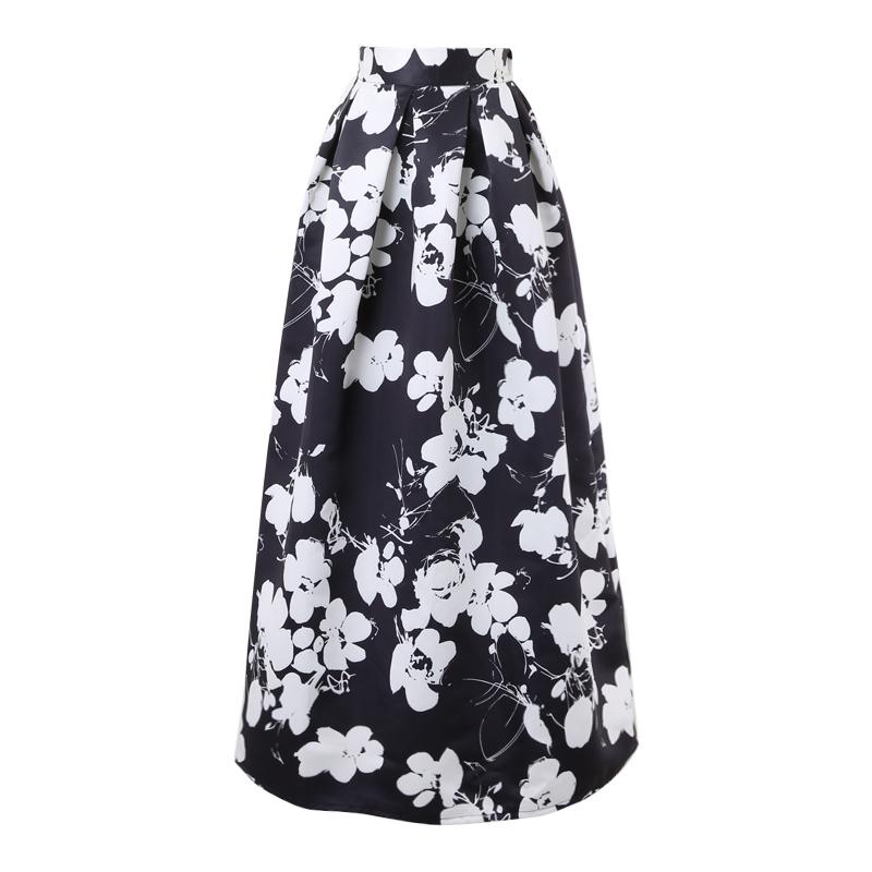 Урожай 100 см пол длинная юбка 2015 черный / белый цветок печать макси плиссе высокая талия летний стиль пушистые юбки A1507006