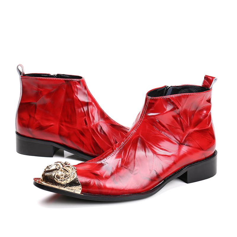 Men's Fashion Genuine Leather Ankle Boots with Metal Goat Head Luxury Brand Winter Fashion Shoes for Men Plus Size 38-46(China (Mainland))