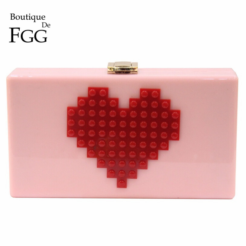 Ladies Red Heart Shape Pink Acrylic Box Clutch Bag Women Evening Bag Wedding Party Prom Shoulder Handbag Hardcase Metal Clutches(China (Mainland))