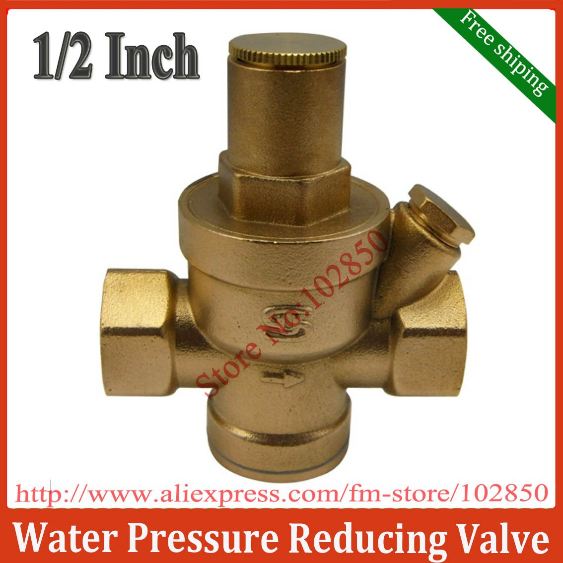 buy 1 2inch bsp water pressure reducing valve with pressure gauge brass h59. Black Bedroom Furniture Sets. Home Design Ideas