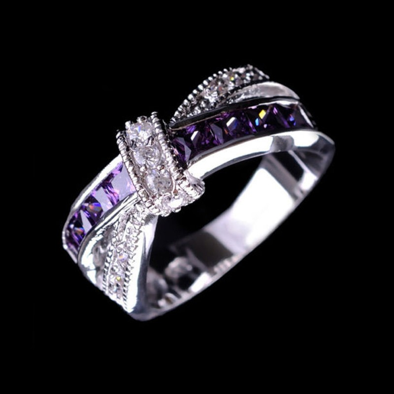 1pcs New Purple Lab Amethyst CZ Party Rings Size 6-10 Gold Plated Wedding Engagement Ring