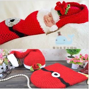 2015 Baby Caps Fashion Cute Christmas Style Sleeping Bags Hat Newborn Boys Crochet Knit Photo Photography Prop(China (Mainland))