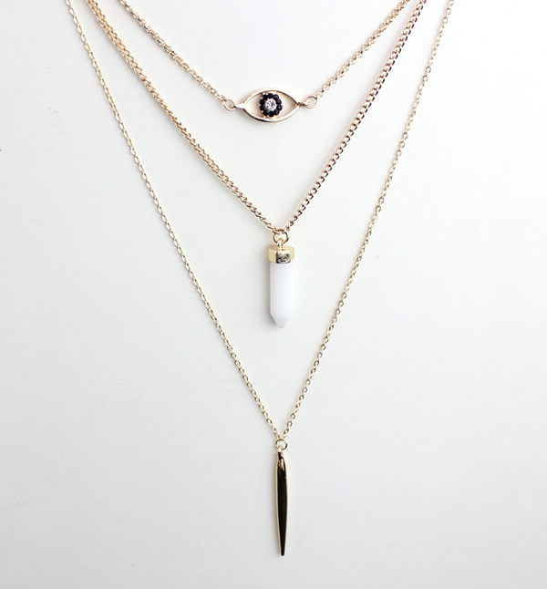 Wholesale White Faux Stone Layered Necklaces Brand Fashion Gold Eye,Spike Stone,Bar Layer Pendant Necklace for Women SFN127(China (Mainland))