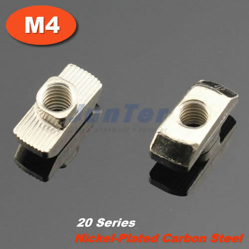100pcs/lot M4 Nickel Plated Carbon Steel Hammer Nut Aluminum Connector T Fastener Sliding Nut For 2020 Aluminum Profile<br><br>Aliexpress